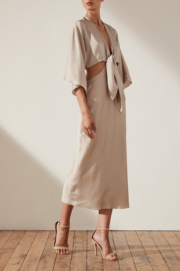 ORO TIE FRONT CUT OUT MIDI DRESS - TAUPE