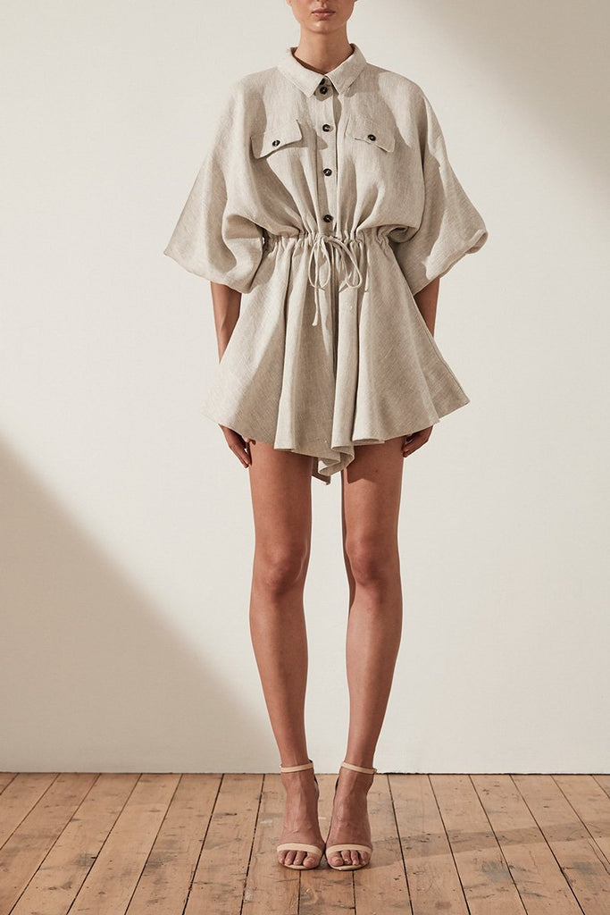 ATTICUS LINEN BALLOON SLEEVE SHIRT MINI DRESS