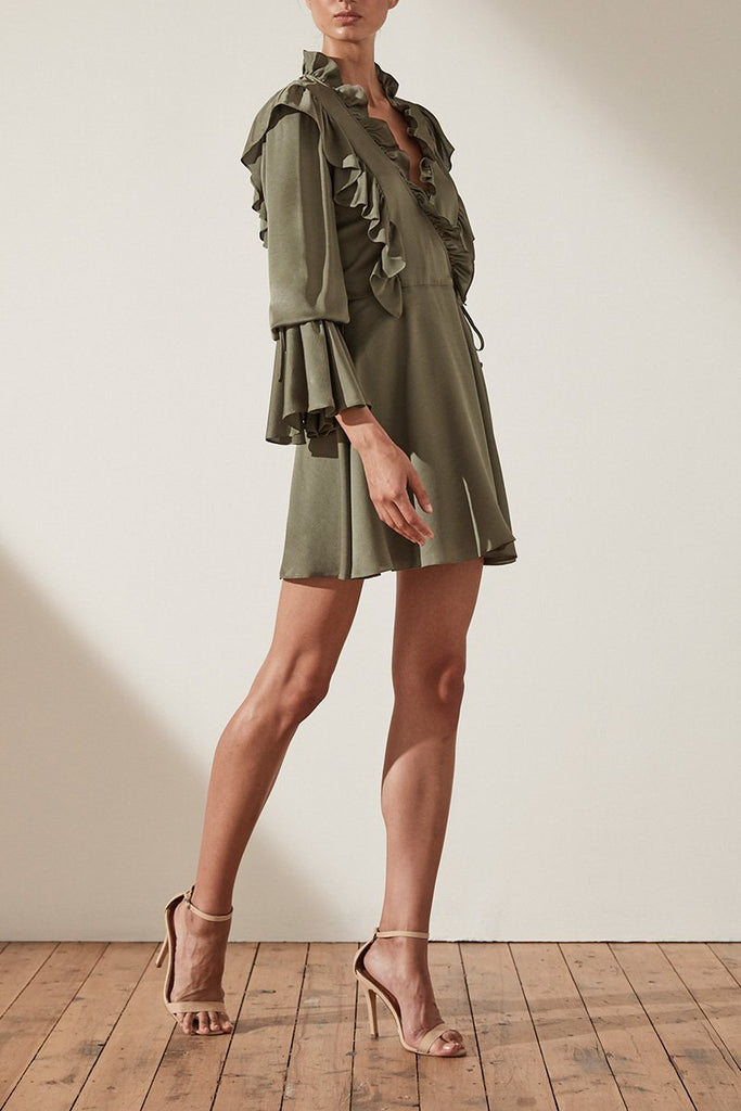 SAWYER RUFFLE MINI DRESS - MOSS