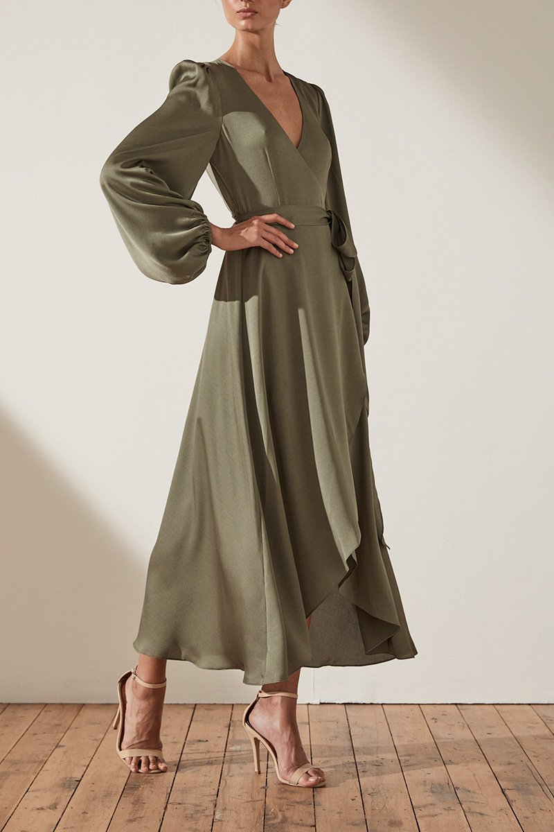 SAWYER WRAP MIDI DRESS - MOSS