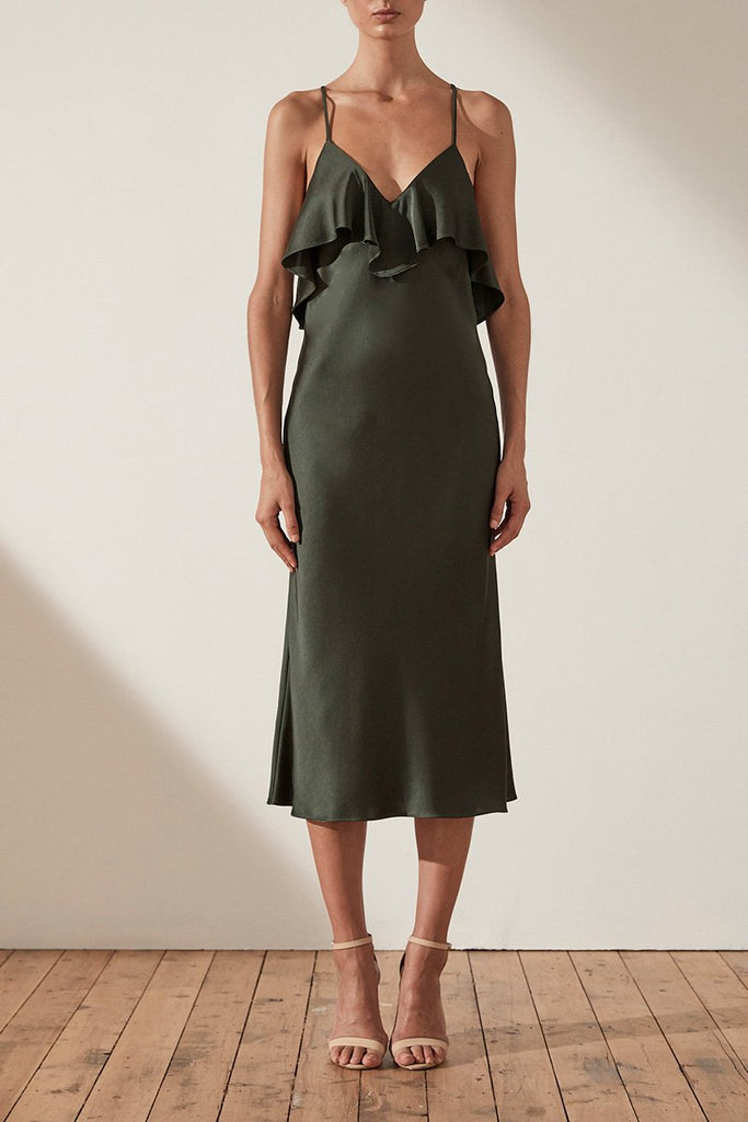 DOUGLAS BIAS CROSS BACK SLIP MIDI DRESS - KHAKI