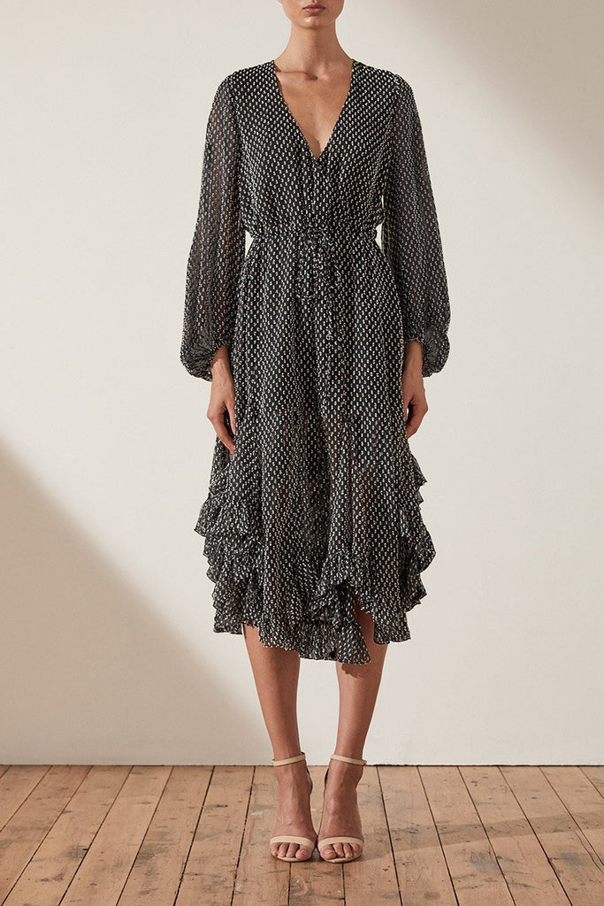 SALINGER GODET DRAWSTRING MIDI DRESS