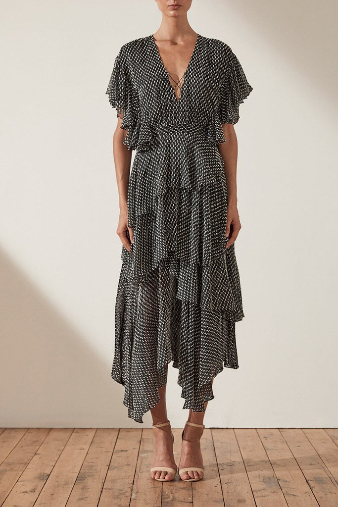SALINGER TIERED MIDI DRESS