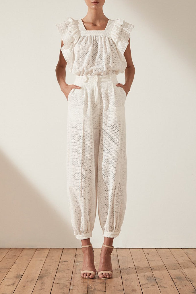 ACKLEY COTTON LACE TAILORED HAREM PANT - WHITE