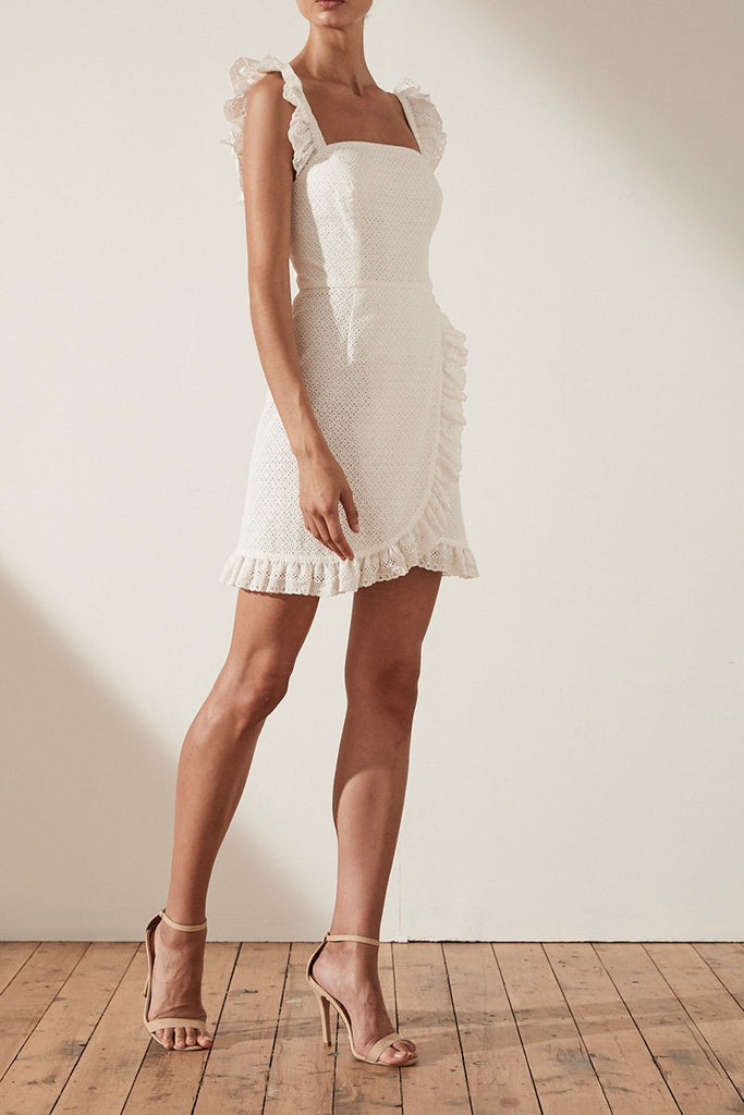 ACKLEY COTTON LACE FITTED MINI DRESS - WHITE