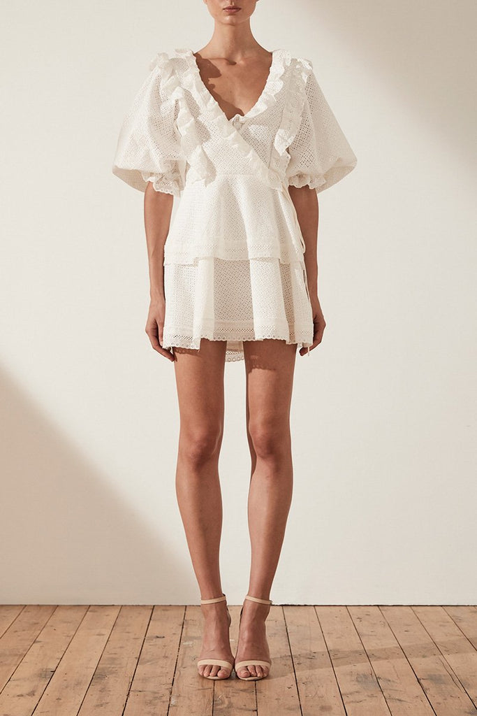 ACKLEY COTTON LACE PUFF SLEEVE MINI DRESS - WHITE