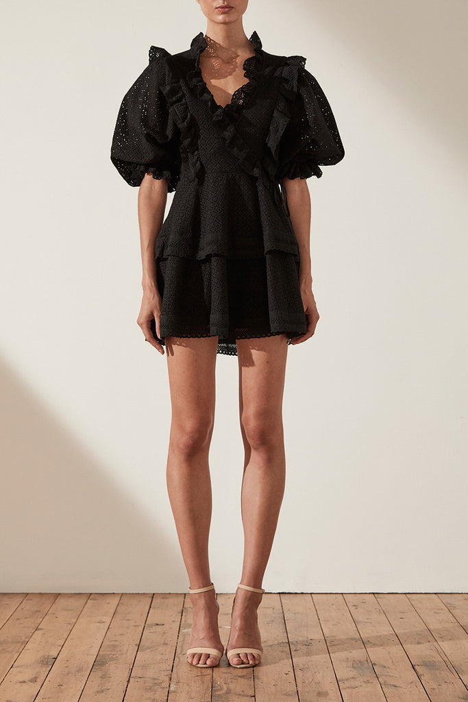 ACKLEY COTTON LACE PUFF SLEEVE MINI DRESS - BLACK