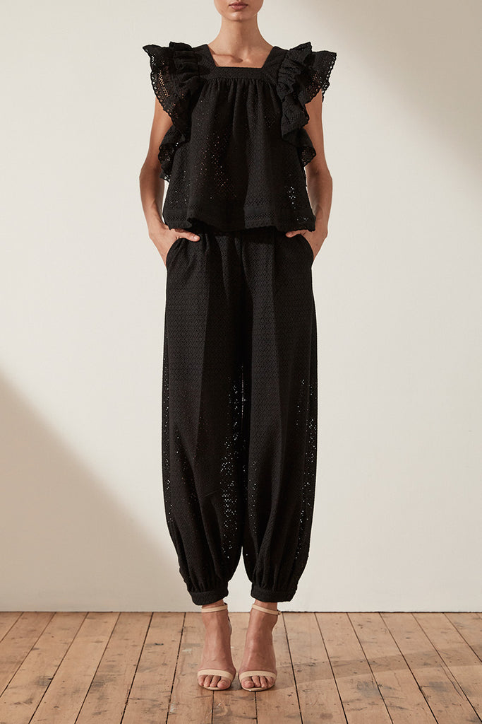 ACKLEY COTTON LACE TAILORED HAREM PANT - BLACK