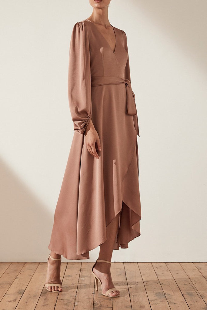 SAWYER WRAP MIDI DRESS - COCOA
