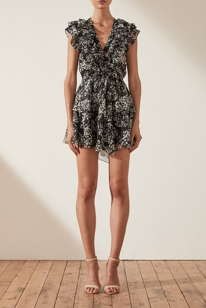 DAKOTA RUFFLE DRAWSTRING MINI DRESS