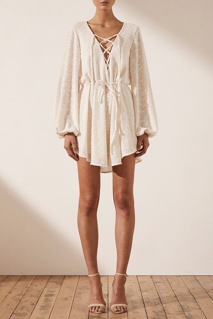 ORTIZ DRAWSTRING MINI DRESS