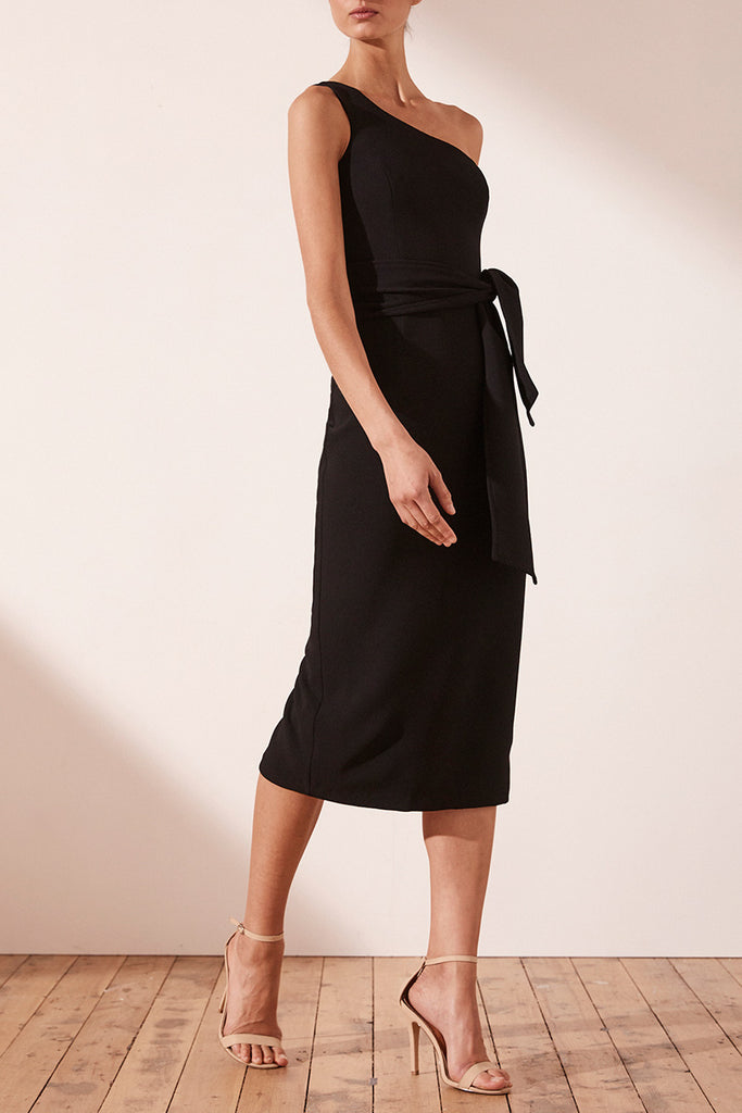 ce28354cbea7 BRYANT ONE SHOULDER MIDI DRESS WITH BELT - BLACK