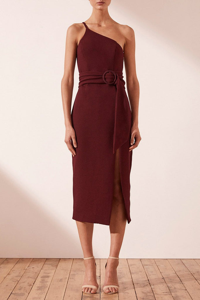 ANDREA ONE SHOULDER FITTED MIDI DRESS