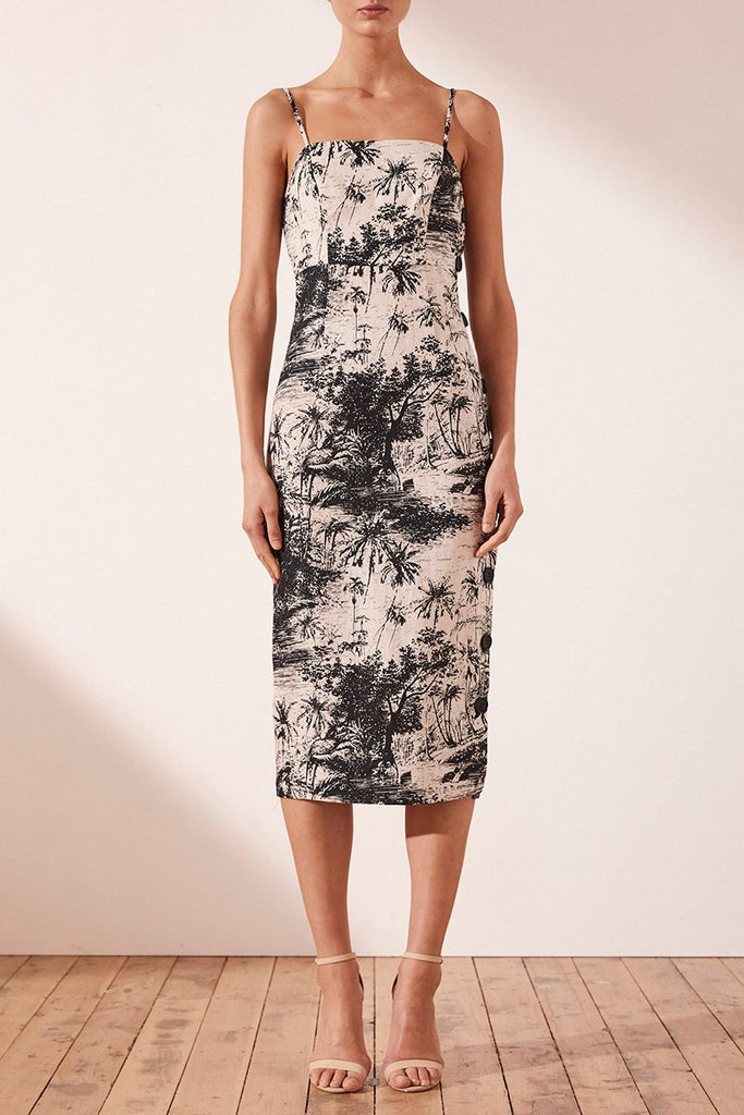 MARADONA LINEN FITTED MIDI DRESS