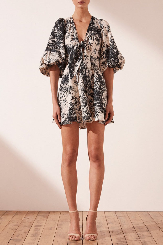MARADONA LINEN PUFF SLEEVE MINI DRESS