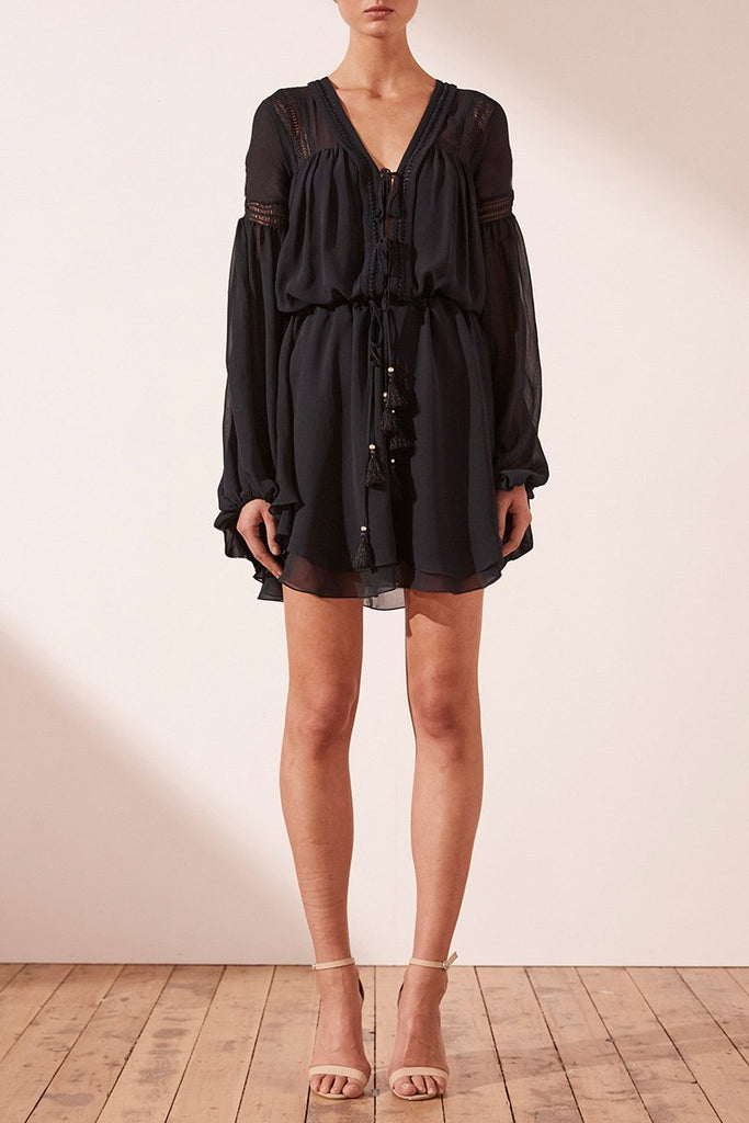 RAFAELLA DRAWSTRING MINI DRESS - FRENCH NAVY