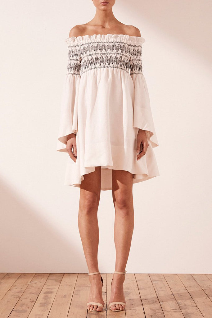 SANTANIA LINEN FLARED SLEEVE MINI DRESS