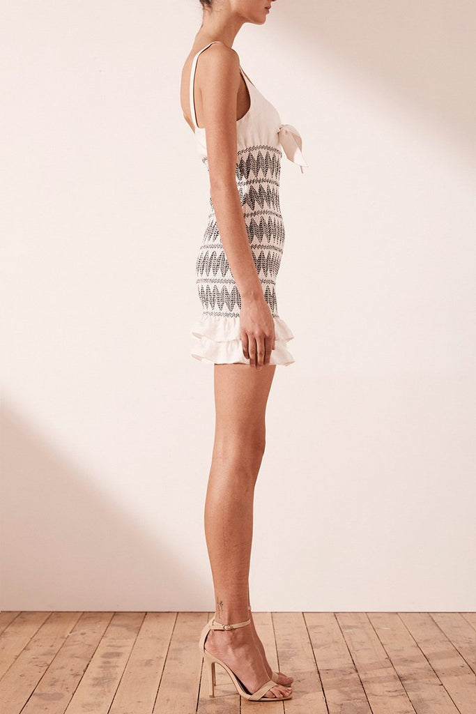 305685995d Santania Linen Tie Front Mini Dress