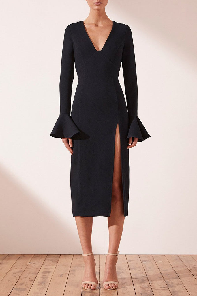 ANDREA FRILL CUFF MIDI DRESS - FRENCH NAVY
