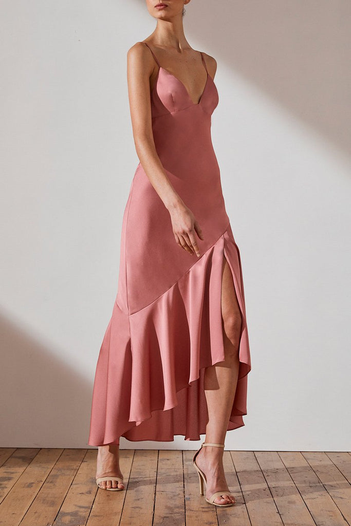 LUXE BIAS ASYMMETRICAL SLIP DRESS - ROSE