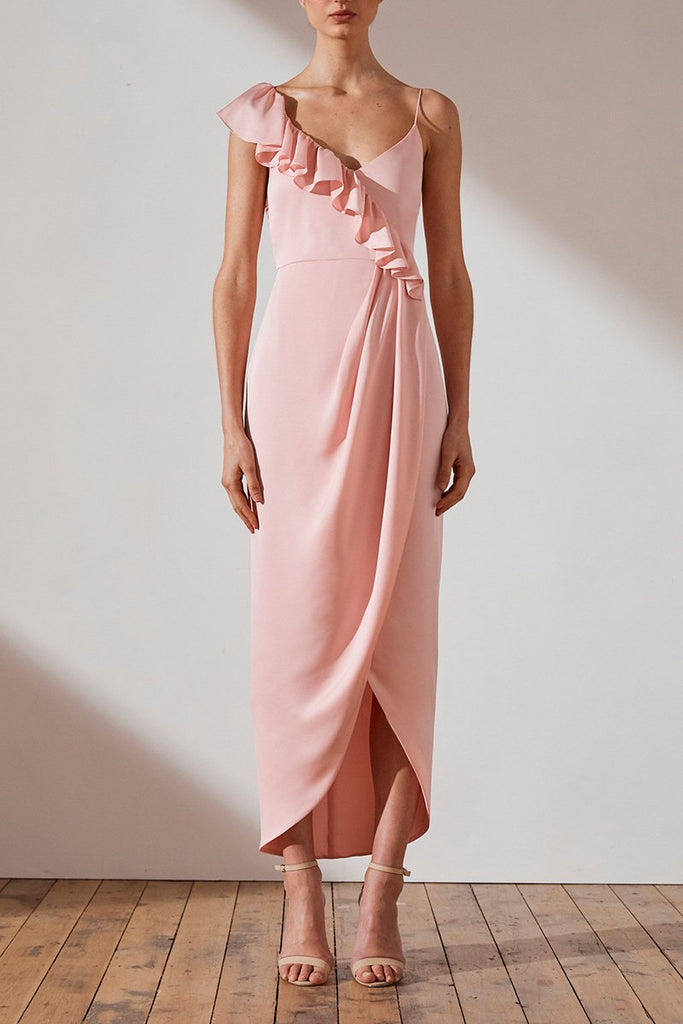 LUXE ASYMMETRICAL FRILL DRESS - PETAL