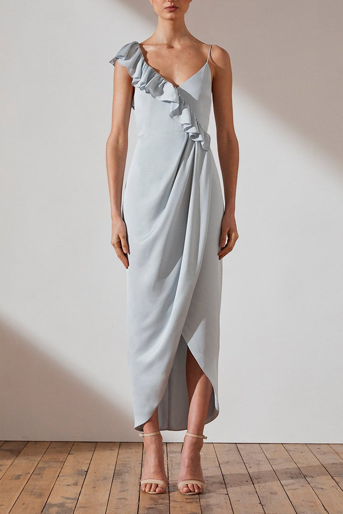 LUXE ASYMMETRICAL FRILL DRESS - CLOUD