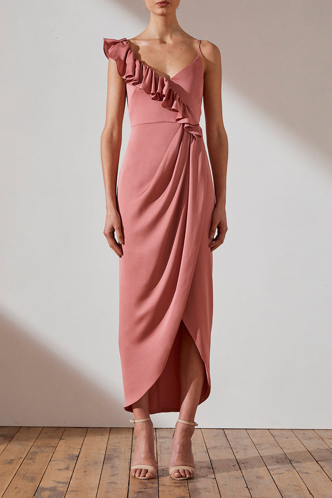 LUXE ASYMMETRICAL FRILL DRESS - ROSE