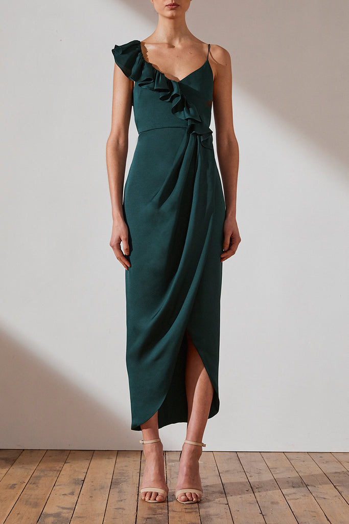 LUXE ASYMMETRICAL FRILL DRESS - EMERALD