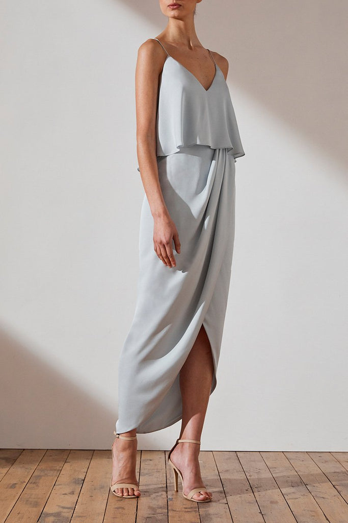 LUXE COCKTAIL FRILL DRESS - CLOUD