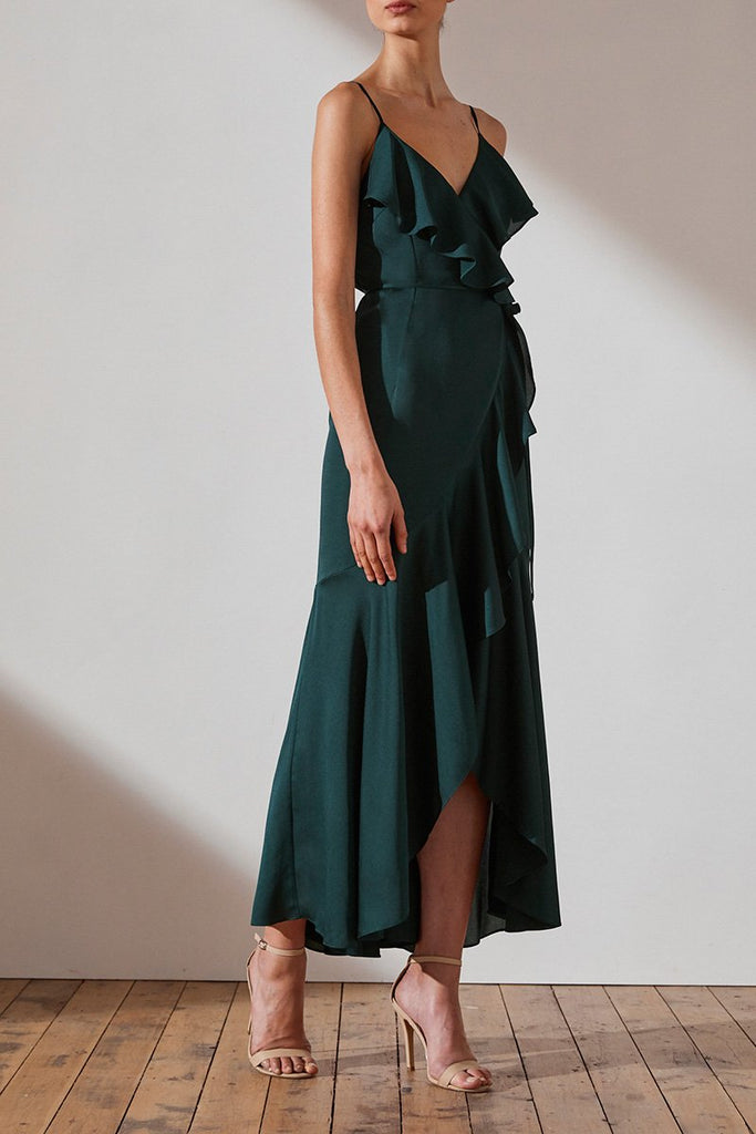 LUXE BIAS FRILL WRAP DRESS - EMERALD