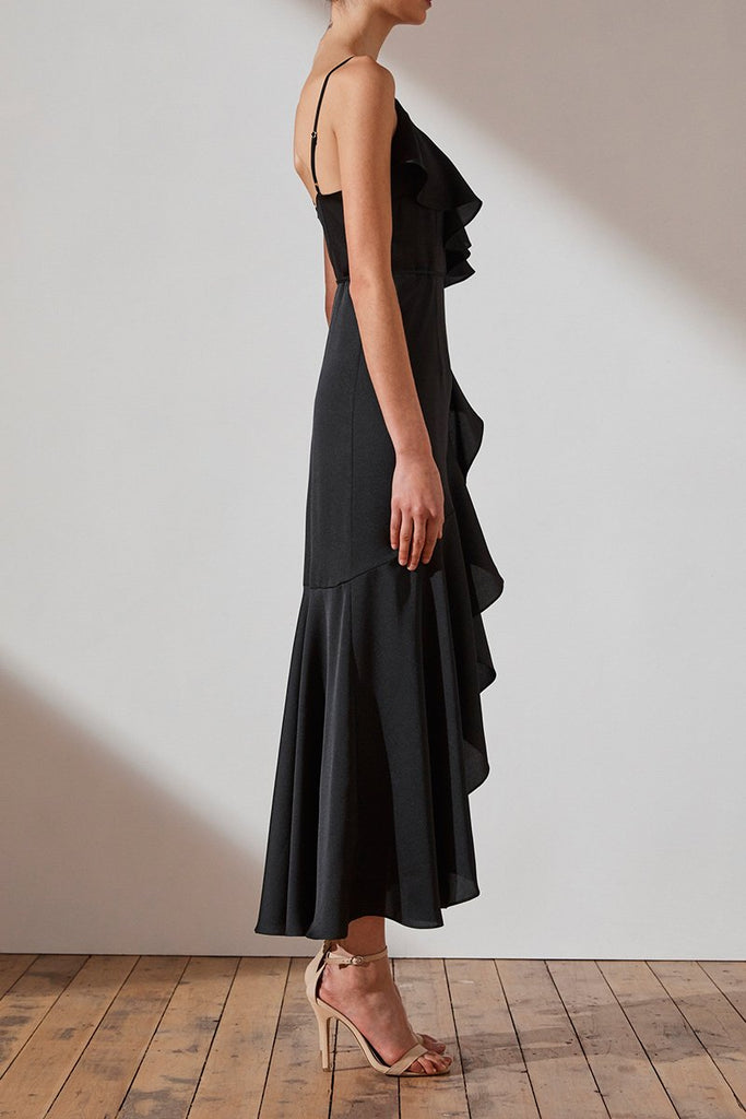 LUXE BIAS FRILL WRAP DRESS - ONYX