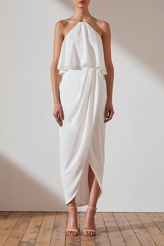 LUXE HALTER FRILL DRESS - IVORY