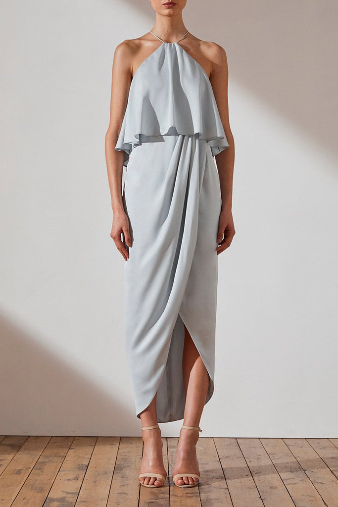 LUXE HALTER FRILL DRESS - CLOUD