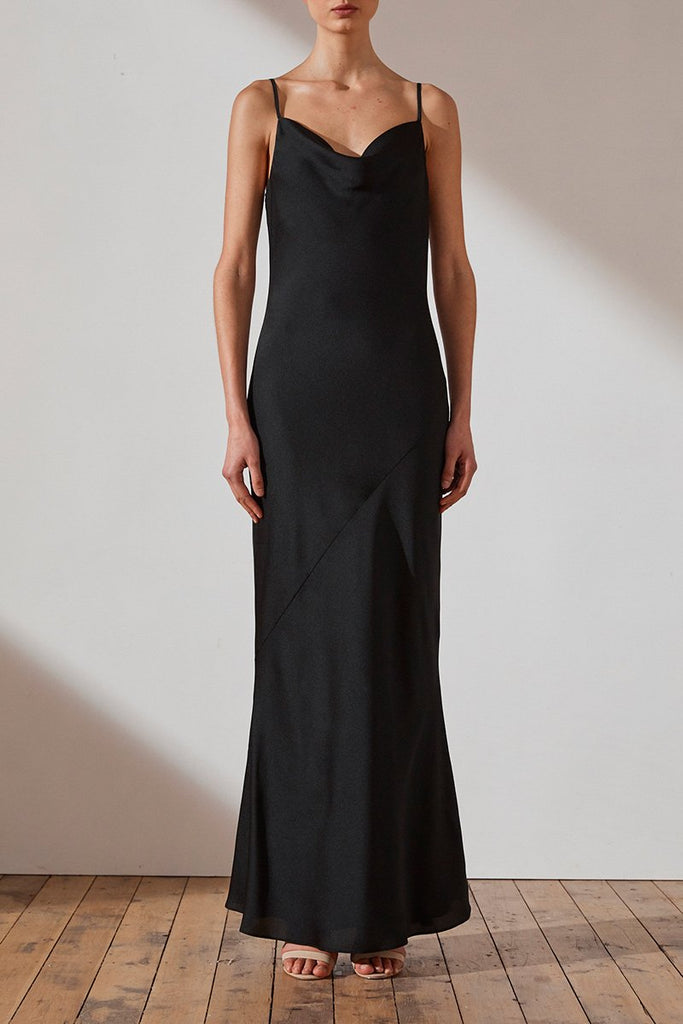LUXE BIAS COWL SLIP DRESS - ONYX