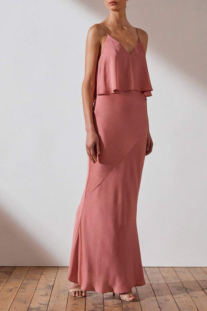 LUXE BIAS FRILL SLIP DRESS - ROSE