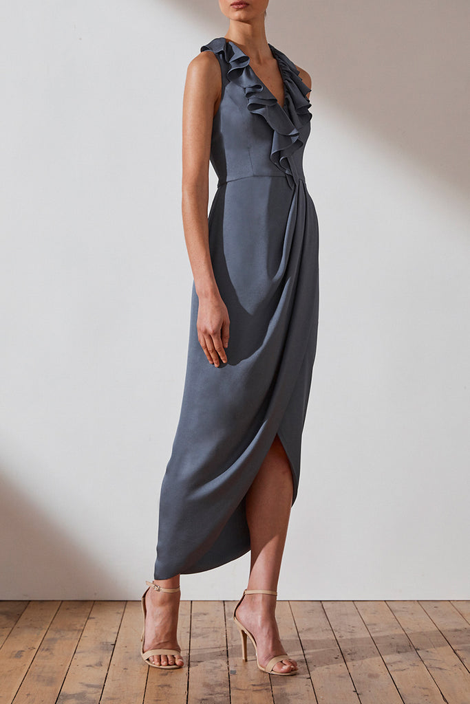 LUXE PLUNGED FRILL DRESS - PEWTER