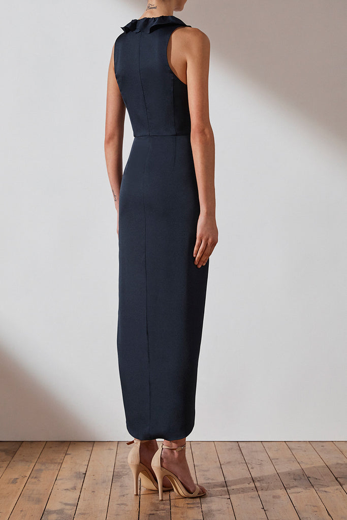 LUXE PLUNGED FRILL DRESS - SAPPHIRE