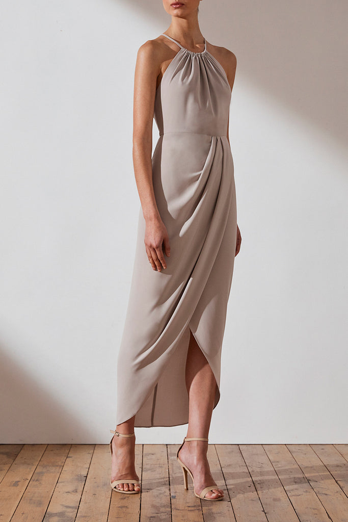 CORE HIGH NECK RUCHED DRESS - OYSTER