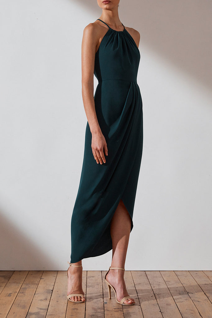 dc12ee61ff CORE HIGH NECK RUCHED DRESS - SEAWEED