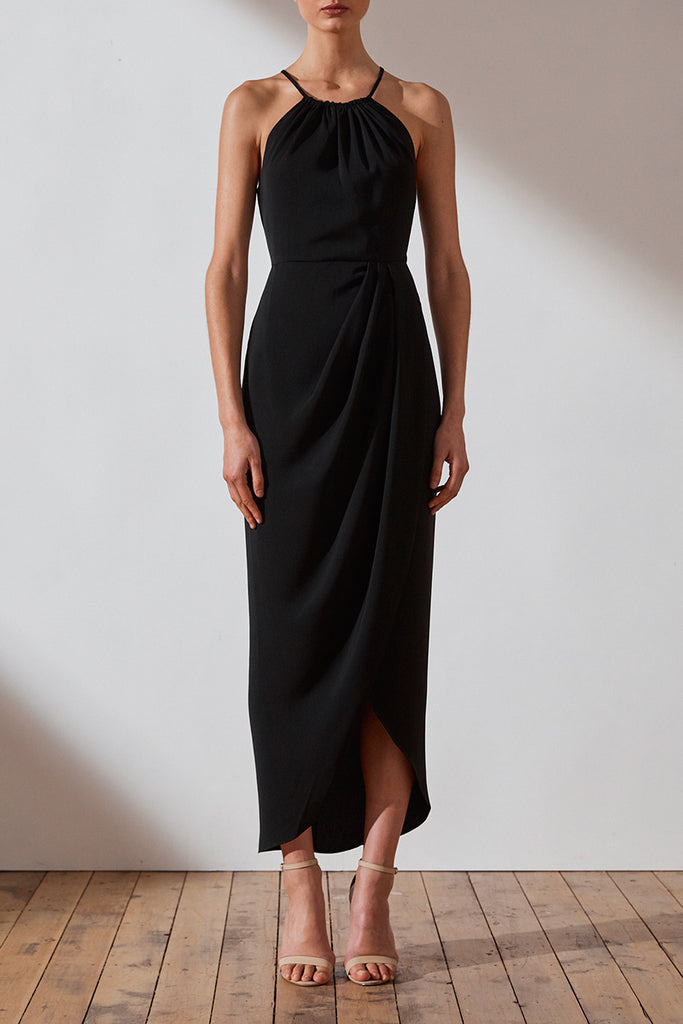 CORE HIGH NECK RUCHED DRESS - BLACK