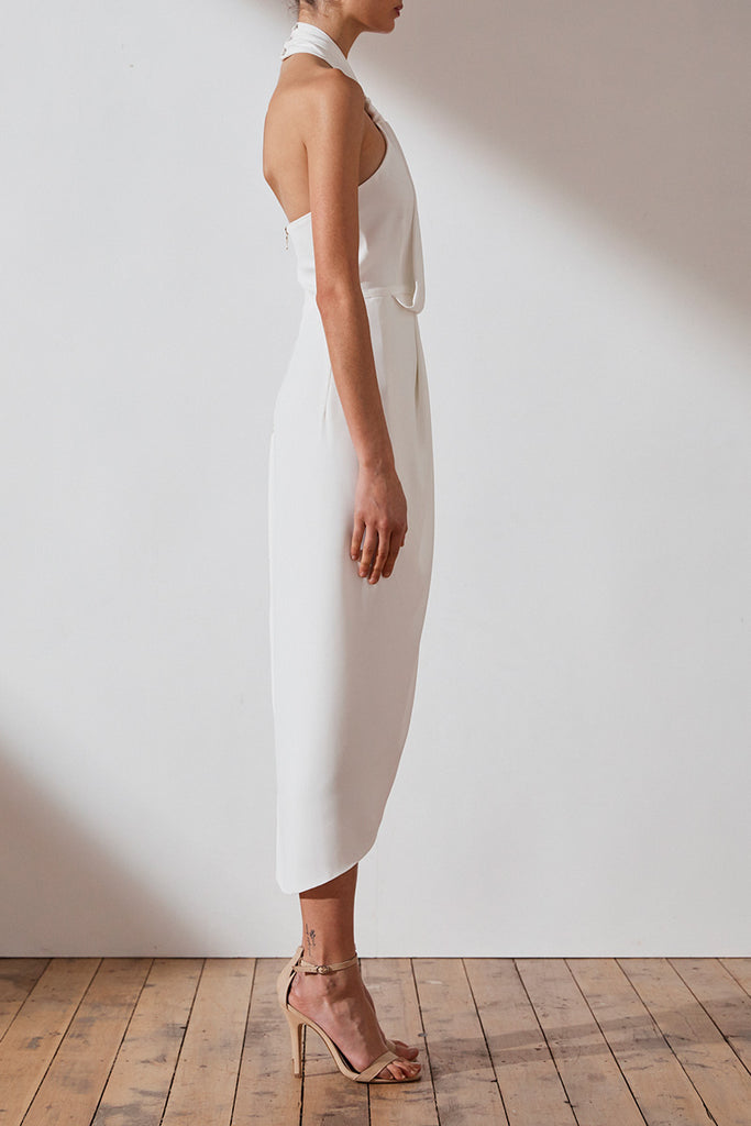 CORE KNOT DRAPED DRESS - IVORY