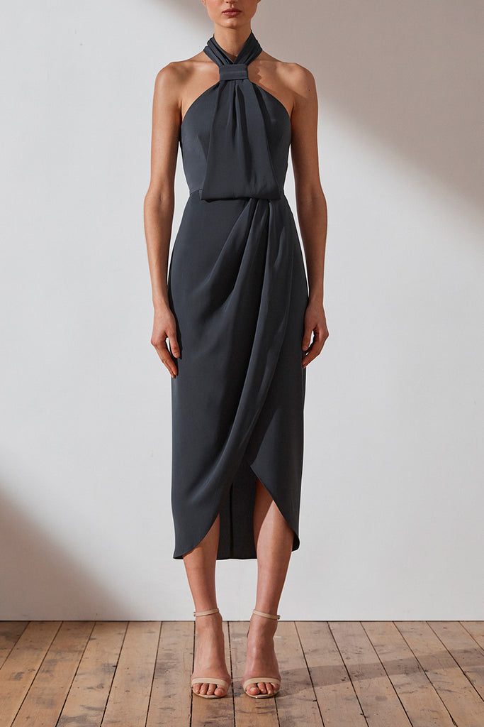 CORE KNOT DRAPED DRESS - CHARCOAL