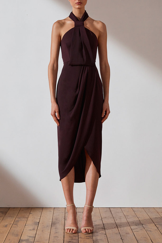 CORE KNOT DRAPED DRESS - AUBERGINE