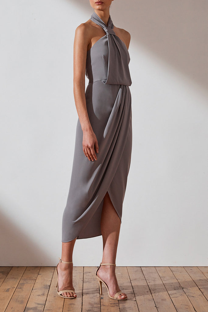 CORE KNOT DRAPED DRESS - GREY