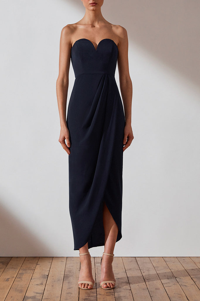 CORE 'U' BUSTIER DRAPED DRESS - NAVY