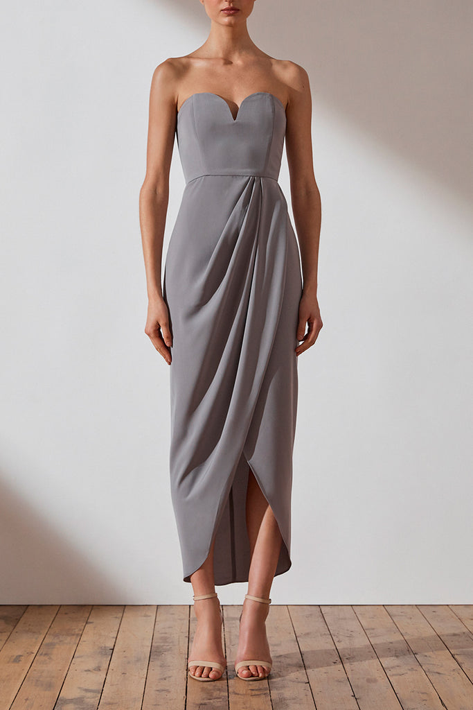 CORE 'U' BUSTIER DRAPED DRESS - GREY