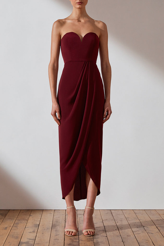CORE 'U' BUSTIER DRAPED DRESS - BURGUNDY