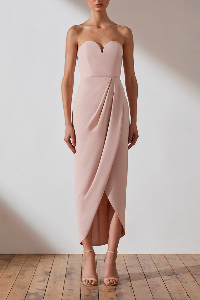 CORE 'U' BUSTIER DRAPED DRESS - BALLET
