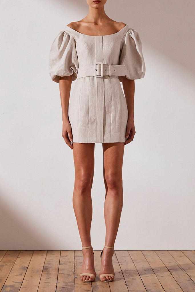 HAMILTON LINEN FITTED MINI DRESS