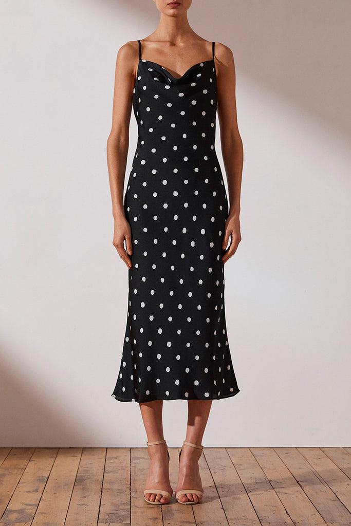 AVERY BIAS COWL MIDI DRESS